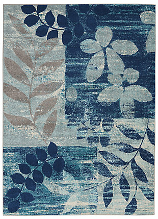 Nourison Tranquil TRA01 Navy Blue 5'x7' Modern Area Rug, Navy/Light Blue, large