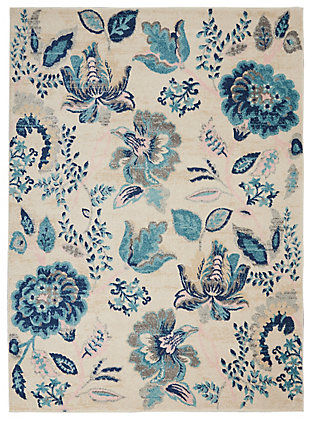 Nourison Tranquil TRA02 Blue and White 5'x7' French Country Area Rug, Ivory/Light Blue, large