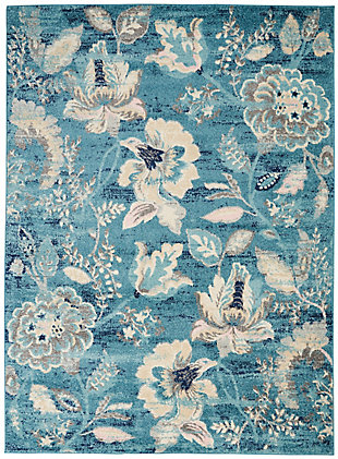 Nourison Tranquil TRA02 Turquoise Blue and White 5'x7' French Country Area Rug, Turquoise, large