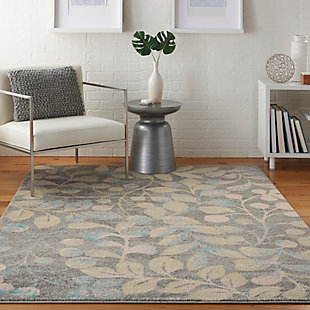 Nourison Tranquil TRA03 Beige and Gray 5'x7' Botanical Area Rug, Gray/Beige, rollover