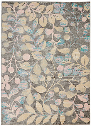 Nourison Tranquil TRA03 Beige and Gray 5'x7' Botanical Area Rug, Gray/Beige, large