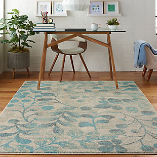 Nourison Tranquil TRA03 Turquoise and Beige 5'x7' Botanical Area Rug, Ivory/Turquoise, rollover