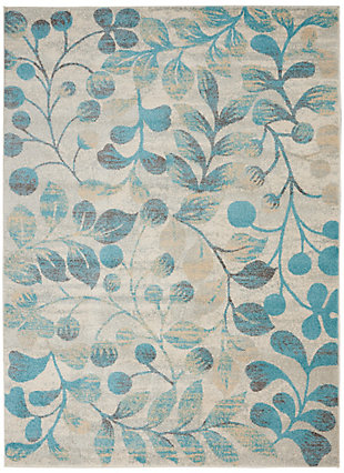 Nourison Tranquil TRA03 Turquoise and Beige 5'x7' Botanical Area Rug, Ivory/Turquoise, large