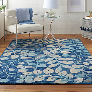 Nourison Tranquil Tra03 Navy Blue 5'x7' Botanical Area Rug, Navy, rollover
