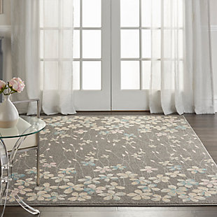 Nourison Tranquil TRA04 Gray 5'x7' Floral Area Rug, Gray/Beige, rollover
