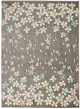 Nourison Tranquil Tra04 Gray 5'x7' Floral Area Rug, Gray/Beige, large
