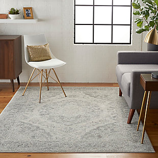 Nourison Tranquil TRA05 Gray and White 5'x7' Vintage Area Rug, Ivory/Gray, rollover