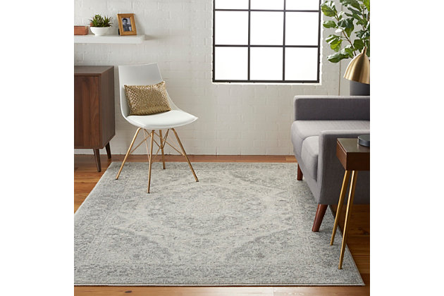 Nourison Tranquil TRA05 Gray and White 5'x7' Vintage Area Rug, Ivory/Gray, large