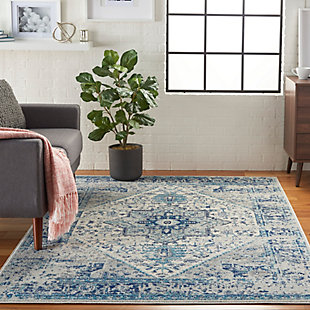 Nourison Tranquil TRA06 Navy Blue and White 5'x7'Persian Area Rug, Ivory/Light Blue, rollover