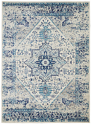 Nourison Tranquil TRA06 Navy Blue and White 5'x7'Persian Area Rug, Ivory/Light Blue, large