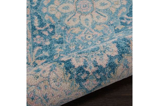 Nourison Tranquil Tra07 Turquoise Blue And White 7' Runner Hallway Rug, Ivory/Turquoise, large