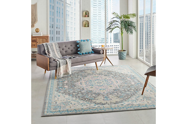 Nourison Tranquil Tra07 Pink And Gray 8'x10' Large Rug, Light Gray Multi, large