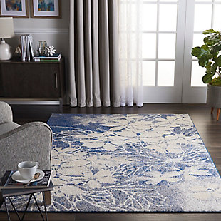 Nourison Tranquil TRA08 Navy Blue and Gray 5'x7' Ombre Floral Area Rug, Beige/Navy, rollover