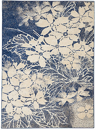 Nourison Tranquil TRA08 Navy Blue and Gray 5'x7' Ombre Floral Area Rug, Beige/Navy, large