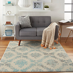 Nourison Tranquil TRA09 Turquoise and White 5'x7' Vintage Area Rug, Ivory/Turquoise, rollover