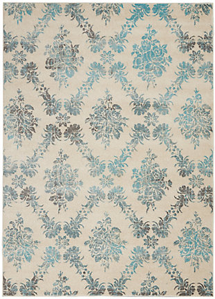 Nourison Tranquil TRA09 Turquoise and White 5'x7' Vintage Area Rug, Ivory/Turquoise, large