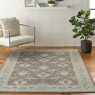 Nourison Tranquil TRA10 Pink and Gray 5'x7' Bordered Oriental Area Rug, Gray/Pink, rollover