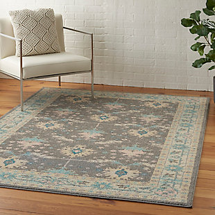 Nourison Tranquil TRA10 Pink and Gray 5'x7' Bordered Oriental Area Rug, Gray/Pink, large