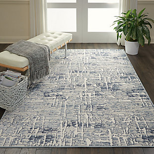 Nourison Urban Chic Gray and Slate 5'x7' Abstract Area Rug, Ivory, rollover