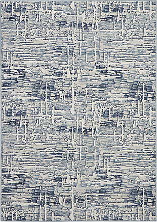 Nourison Urban Chic Gray and Slate 5'x7' Abstract Area Rug, Ivory, large