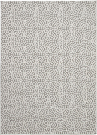 Nourison Urban Chic White 5'x8' Mid-century Area Rug, Cream, large