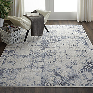 Nourison Urban Decor Slate Blue and White 5'x7' Rustic Area Rug, Ivory/Blue, rollover