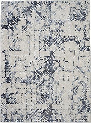 Nourison Urban Decor Slate Blue And White 5'x7' Rustic Area Rug, Ivory/Blue, large