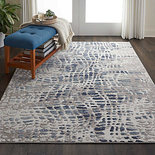 Nourison Urban Decor Slate Blue And White 5'x7' Rustic Area Rug, Ivory/Gray, rollover