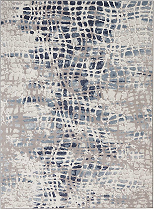 Nourison Urban Decor Slate Blue And White 5'x7' Rustic Area Rug, Ivory/Gray, large