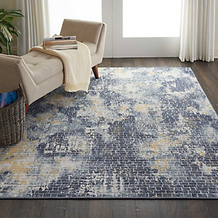 Nourison Urban Decor Slate Blue and White 5'x7' Rustic Area Rug, Ivory/Sky, rollover