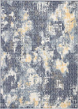 Nourison Urban Decor Slate Blue and White 5'x7' Rustic Area Rug, Ivory/Sky, large