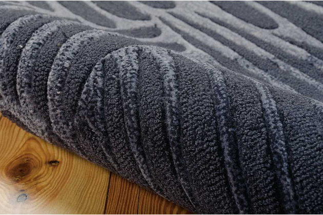 "Home Accents Contour Wave 5' x 7'6"" Area Rug, Gray, large"