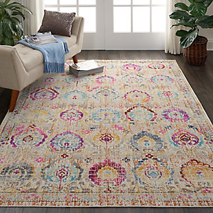 Nourison Vintage Kashan Ivory Multicolor 5'x8' Persian Area Rug, Ivory/Multi, rollover