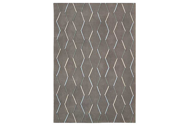 """Home Accents Contour Lines 7'3"""" x 9'3"""" Area Rug, Gray, large"""
