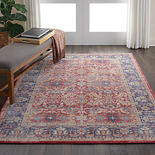 Nourison Ankara Global Red and Blue Multicolor 5'x8' Persian Area Rug, Red, rollover