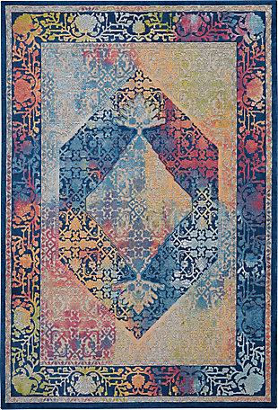 Nourison Ankara Global Blue Multicolor 5'x8' Boho Area Rug, Blue/Multi, large