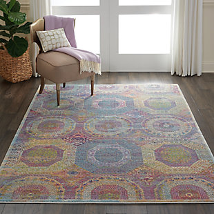 Nourison Ankara Global Multicolor 5'x8' Boho Area Rug, Multi, rollover