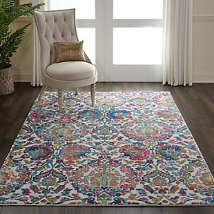 Nourison Ankara Global Blue and Ivory 5'x8' French Country Area Rug, Ivory/Blue, rollover