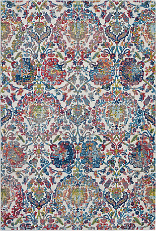 Nourison Ankara Global Blue and Ivory 5'x8' French Country Area Rug, Ivory/Blue, large