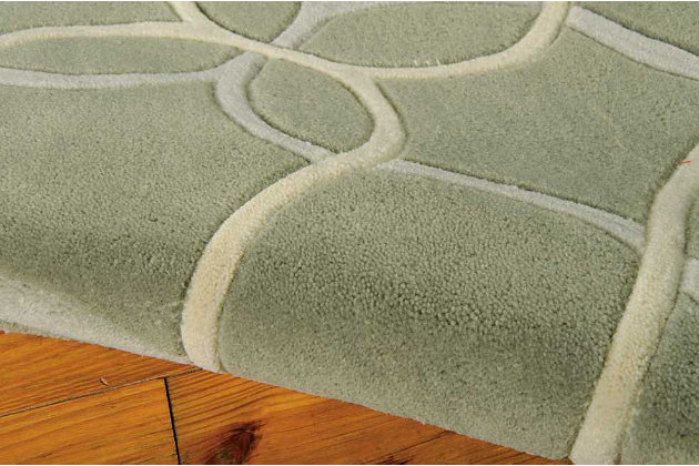 """Home Accents Contour Texture 7'3"""" x 9'3"""" Area Rug, Green, large"""