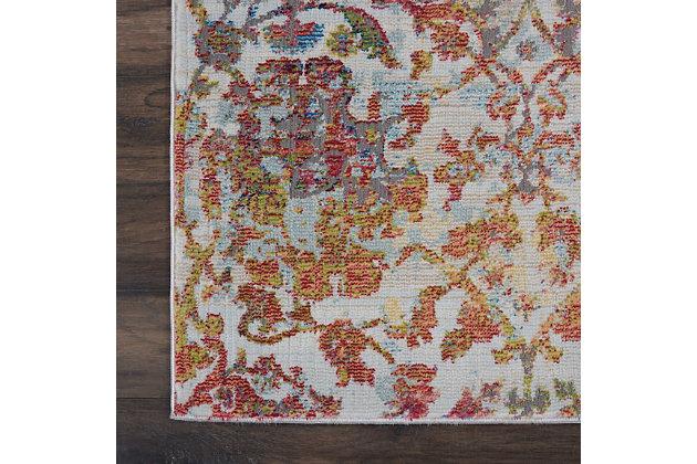 Nourison Ankara Global White and Orange 8'x10' Large Low-pile Rug, Ivory/Orange, large