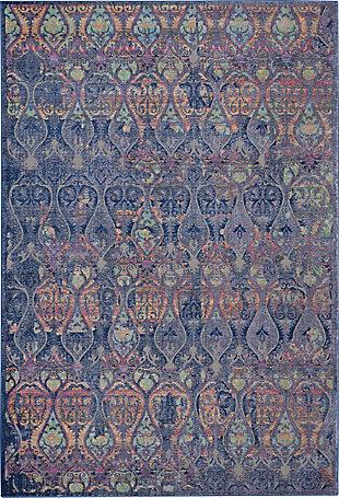 Nourison Ankara Global Navy Blue Multicolor 5'x8' Moroccan Area Rug, Navy/Multi, large