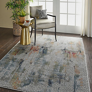 Nourison Ankara Global White Multicolor 5'x8' Abstract Area Rug, Ivory/Multi, large