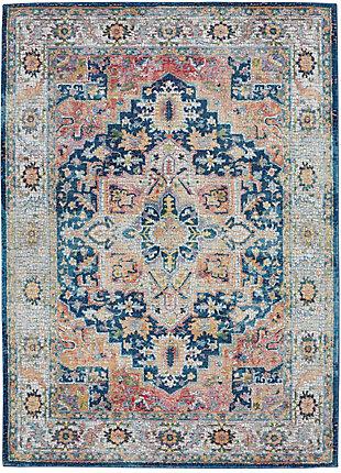 Nourison Ankara Global Blue and Red Multicolor 5'x8' Persian Area Rug, Blue/Multi, large