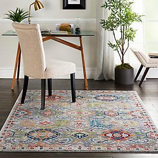 Nourison Ankara Global Gray Multicolor 5'x8' Persian Area Rug, Gray/Multi, rollover