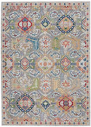 Nourison Ankara Global Gray Multicolor 5'x8' Persian Area Rug, Gray/Multi, large