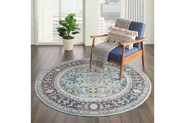 Nourison Ankara Global Light Blue, Ashley Furniture Round Area Rugs