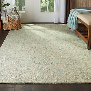Nourison Azura Teal and White 5'x8' Farmhouse Area Rug, Ivory/Gray/Teal, rollover
