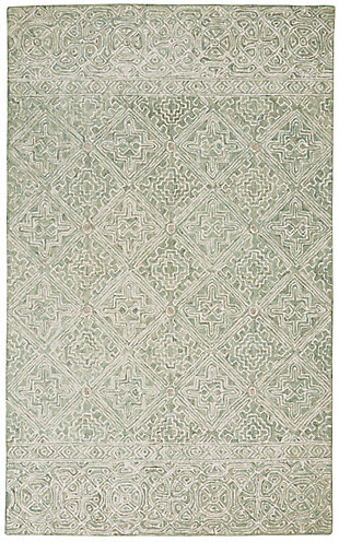 Nourison Azura Teal and White 5'x8' Farmhouse Area Rug, Ivory/Gray/Teal, large