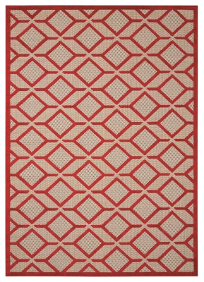 """Image of Home Accents Aloha Checkered 5' x 7'5"""" Area Rug, Red"""